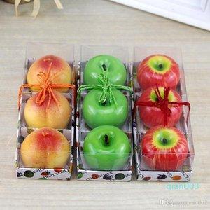 Forma de la fruta artificial Velas perfumadas de limón Naranja Melocotones de Apple vela Viivid romántica para fiesta de Navidad decoración de la boda 4 2s a ZZ