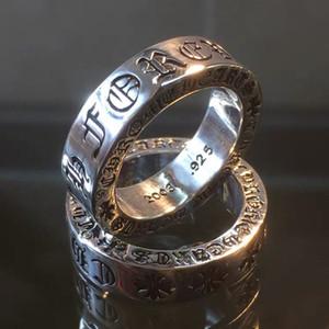 Урожай Крокет крест Сердце Вечность Пара кольцо мужчины и женщины Модный Классические 925 Silver