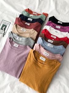 Heliar Donne Pianura Cotone T-shirt 2020 estate o-collo casuale cotone Tees signore Moda Solid manica corta T-shirt per le donne