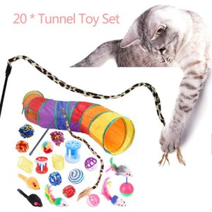 20 21pcs Cat Collapsible Tunnel Toys Kit Cat Teaser Feather Wand Sisal Ball Pet Supplies Kitten Dog Interactive Play Supplie