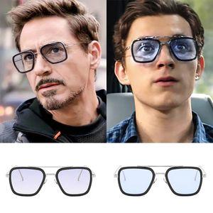 Тони Старк солнцезащитные очки Мужчины Avengers Iron Man площади Солнцезащитные очки Ретро Gradient Человек-паук Edith очки Роберт Дауни-младший Goggles