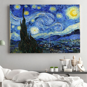 Arte de pared clásico de Van Gogh Noche estrellada paisaje abstracto famoso cartel de la lona impresión decorativa imagen Sala de estar moderna decoración 1