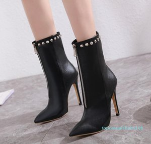 qsize 33 to 42 sexy mid zip rivets pointed high heel ankle booties luxury designer women boots come with box 10t