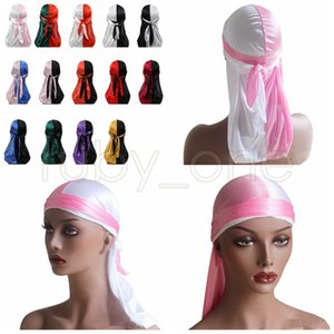 Mulheres Bandana Turban Hat Color Matching Durag Hip Hop Headwear Lenço headwrap cauda longa Crânio Cap pirata Hat Party Hats Fontes RRA3468