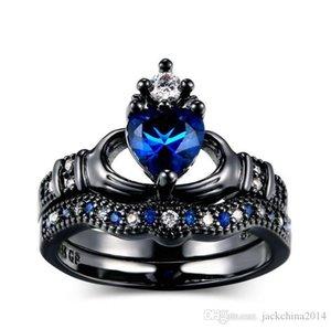 Bijoux en gros Mode professionnel 10KT or noir Rempli poire bleu saphir diamant Simulé Gemstones mariage nuptiaux anneau de coeur