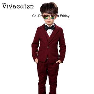 Flower Boys Formal Suit Kids Wedding Party Dress Plaid Blazer Vest Pants Shirt Tie Child Tuxedo Prom Performance Costume F001