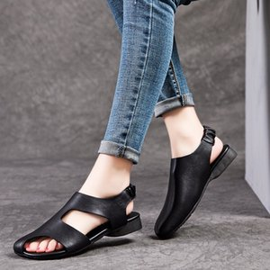 Women Leather Sandals Black Low Heels Shoes Women Summmer Peep Toe Sandals Casual Genuine Leather Lazy Shoes Handmade2020