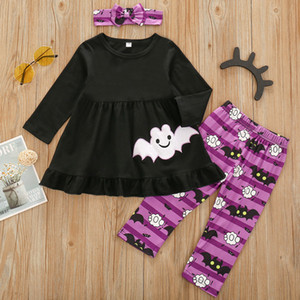Baby Girls 12M-5T Halloween Clothes Sets Cartoon Bat Long Sleeve Smock Top + Printed Long Pants and Headband Outfits