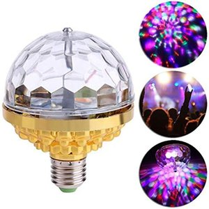 Disco Ball Lamp, 6W E27 RGB Rotating Crystal LED Activated Strobe Lights Party Bulb Stage Light for Family Parties,Birthday,Party Bulb