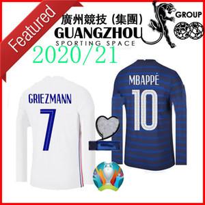 2020 2021 maillots de football de la France à long MBAPPE 20 21 Griezmann Pogba francia maillot de pied formation Varane Chemises football