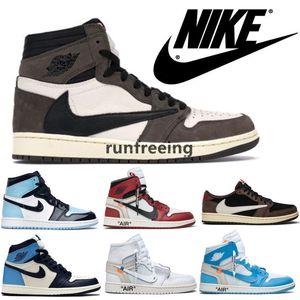 Nike air jordan retro 1 Offwhites Travis Scotts AJ 1 Obsidian UNC Herrenschuhe Turbo Grün 1s Chicago Gebannt Basketball-Turnschuhe