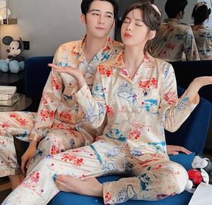 pyjama Couple 2020 printemps et à manches longues soie fine soie glace casual soie glace féminin automne peut être porté automne vêtement hommes d'été à l'extérieur