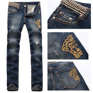 Erkek seksi mens erkekler Casual Siyah Mavi Skinny ince Fit Denim Pantolon Biker Hip Hop Jeans Ripped Jeans Joggers giysiler Temsil