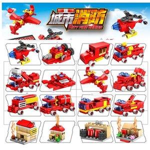City Kit Modelo Motor Conjuntos Figuras Blocos Bombeiros Brinquedos Fight Truck Tijolos DIY Edifício DIY Building Fire Kids Brinquedos 05 PGSJH