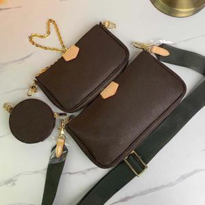 3pcs mode Top qualité mis en femmes Sacs à bandoulière de style mignon en cuir véritable sac fourre-crossbody pour la taille des dames: 24 * 13 * 4.5cm 19,5 * 11 * 4cm 9.5 * 2cm