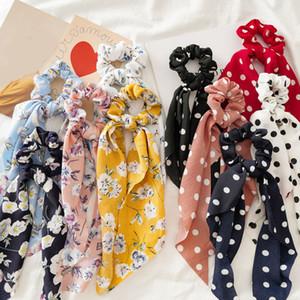 Las mujeres Serpentinas Scrunchies lunar de la impresión floral de cuerda elástico del pelo del arco de chicas lazos del pelo de Corea del dulce de pelo accesorios Headwear