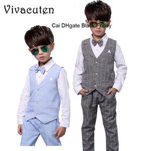 Kids Boys Formal Suits Birthday Wedding Party Dress Gentleman Plaid Shirt Waistcoat Vest Pants Outfits Children Clothes F188