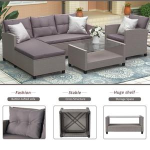 U_style salon salon extérieur salon de meubles de meubles 4 pièces conversation ensemble canapé sectionnel en osier avec coussins de siège gris wy000066aa