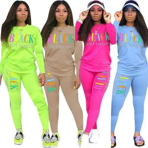 Motivo Lettern Womens 2 Imposta pezzo solido casuale di colore Abbigliamento Donna Autunno manica lunga t-shirt matita pantaloni comodi 2 Peice Outfit Set