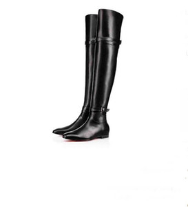Designed Cate Boot For Women,Ladies Red Bottom Boots Chains Platform Heel Women Winter Shoes Smooth Calf Leather Knee-high Tall Boots 35-41