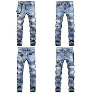 Yüksek Kaliteli Erkek Tasarımcı Casual Düz kaya canlanma D2 Jeans Retro İnce Skinny Jeans Moda Lüks Ripped Erkekler Hip Hop Denim Pantolon