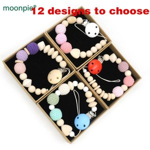 NEW 10 designs to choose brand new with gift box pastel baby pacifier clips soothie dummy holder CROCHET wooden BEADS NT210