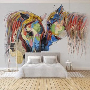 Photo faite sur commande de papier peint Huile Cheval coloré 3D Peinture Peint à la main peint Salon Canapé Chambre TV mural Papiers Home Decor