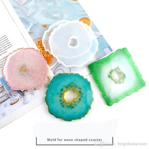 Agate Silicone Mold Epoxy Resin Mold Big Irregular Cup Tray Wave Shaped Coaster Jewelry Making Craft Food Grade DIY Moulds DB