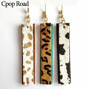 CPOP 7 Padrões de couro genuíno Brincos Pena Multicolor Cow Leopard Pendent Brincos Moda Jóias Mulheres Acessórios Presentes