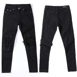 Мужские джинсы высококачественные мужские розетки мото-байкер черный серый тонкий подходящий мотоцикл мужчины старинные проблемные джинсовые штаны