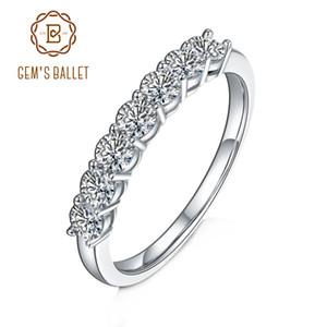 GEM 발레 925 스털링 실버 모이 사 나이트 링 보석 0.7Ct VVS1 절반 영원 밴드 모이 사 나이트 다이아몬드 결혼 반지를 들어 여성