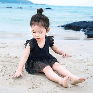 2020 las nuevas muchachas de una sola pieza traje de baño de las niñas Warm 'encaje de la moda caliente del bebé traje de baño para bebé vacaciones de aguas termales