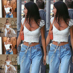 2020 Summer Hot Women Sexy Casual Off Shoulder Skinny Bow Unique Design Stylish Tank Top Vest Sleeveless Girls White Crop Tops