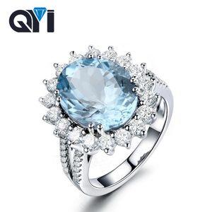 QYI Luxus 5 ct ovalen Edelstein-Ringe für Frauen Schmucksachen 925 Sterlingsilber Natürlicher Topas Halo Verlobungsring