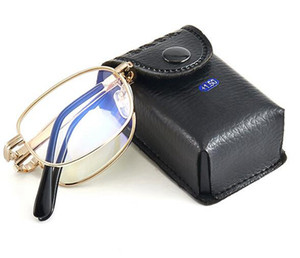 Men and women look far and near double-light reading glasses anti-blue light progressive multi-focus reading glasses folding portable case