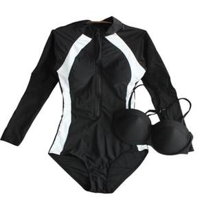 Manica lunga delle donne di un pezzo dello Swimwear sexy spinge verso l'alto femminile del costume da sottile sport ferretto costume da bagno Nuoto Beach Wear 2020 Nuovo