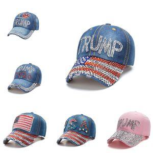 Cap Diamante campanha eleitoral Trump Baseball Cap EUA do chapéu de vaqueiro ajustável Snapback Mulheres Denim Diamante Chapéus OOA8433