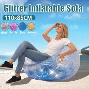 Bean Bag preguiçoso Sofá-cama inflável dobrável reclinável Outdoor sofá-Presidente Adulto Lantejoula Transparente Stool esférico espessamento A5V5 #