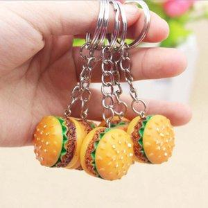 30pcs / lot Simulação Hamburger Chaveiro Criativo Pingente encanto do saco acessórios feitos à mão Resina Food Car Lindo anel chave Keychain