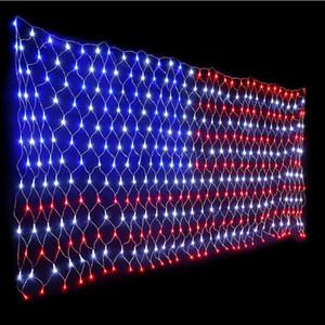 420 LED EUA Bandeira Luzes Net 6.5ft x 3.3FT Luzes de corda decorativa de baixa tensão para o jardim de Natal 110V luz