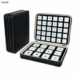 PU Leather Gem Box Portable Insert Square Gemstone Travel Zip Bag Diamond Stone Business Display Box Jewelry Packaging Case ba0P#