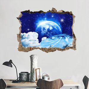 New 3D dream broken wall planet star wall paste living room bedroom children room decoration painting KS6648