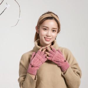 2020 neue Art und Weise reizender Frauen-Winterhandschuhe der japanische Art-reine Farben Design Handschuh ohne Finger mit schönen Deckeln Designer Veränderbare Fäustlinge