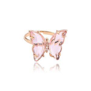 10pcs Lot Brand New Zircon Animal Rings Crystal Butterfly Design Finger Ring Women Fashion Adjustable Hand Ornaments Jewelry Accessories