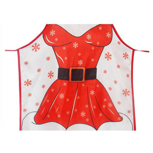 Adult Christmas Apron Santa Lady Printed Cartoon Cute Cooking Apron Christmas Decoration Props For Kitchen Tools Xmas Gift AAB1911