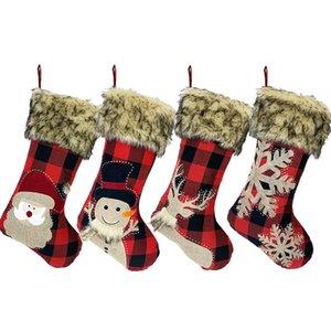"""جوارب عيد الميلاد 18 """"الخيش منقوشة نمط ندفة الثلج سانتا ثلج الرنة القطيفة فو الفراء صفعة عيد الميلاد ديكور JK2008XB"""