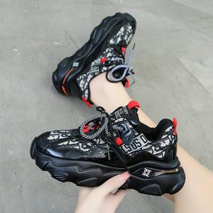 Red Red Dad Shoes Women Ins Fashion 2020 Otoño Nuevo Estilo Pies Pequeña Plataforma Incrementada Casual Zapatillas negras