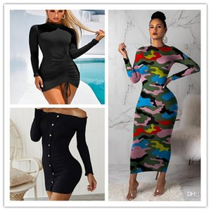 Femmes Contraste Couleur Skinny Robes Casual Mode camouflage Robes moulantes manches longues Slim Pull Femme plissés Robes