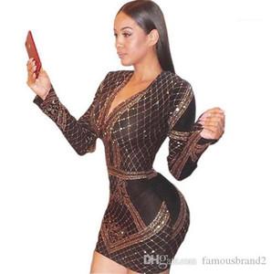 Drucken Frauen Bodycon Kleider Modedesigner-beiläufige Kleider Frauen Kleidung Frauen Velvet Vergolden Kleider Sexy Panelled