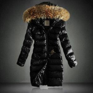 Liva ragazza Nuovo lucida Giacca Parka Donne inverno cotone imbottito caldo addensare grande collo di pelliccia della signora lunghi cappotti Parka Giacche donna